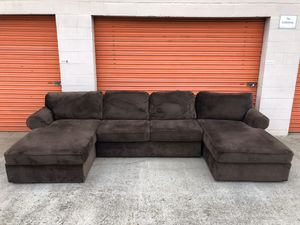 Dark Brown Sectional Couch w/double chaise lounges -I can deliver for Sale in San Diego, CA