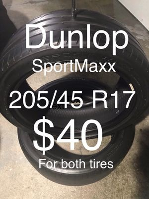 2 Dunlop tires 205/45 R17 for Sale in San Lorenzo, CA