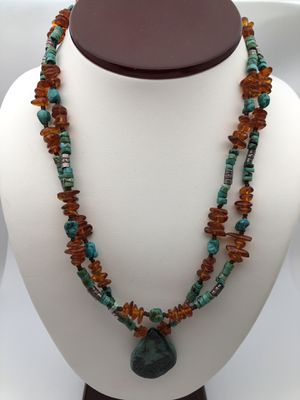 Vintage Sterling silver 925 native Americans turquoise amber necklace for Sale in The Bronx, NY