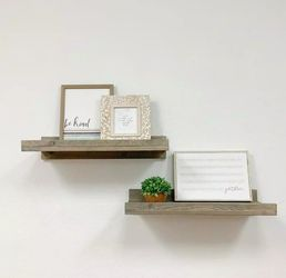 Rustic Luxe 24 in. W x 10 in. D Gray Floating Decorative Shelves (Set of 2) for Sale in Dallas,  TX