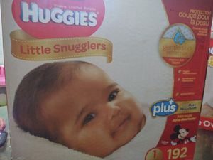 Huggies snugglers size 1 new unopened 192 diapers .willing to trade for a box of huggies or pampers brand size 3-5 only . for Sale in Houston, TX