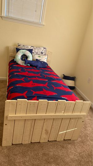 Twin size solid wood bed frame and red three drawer chest for Sale in Carrollton, VA