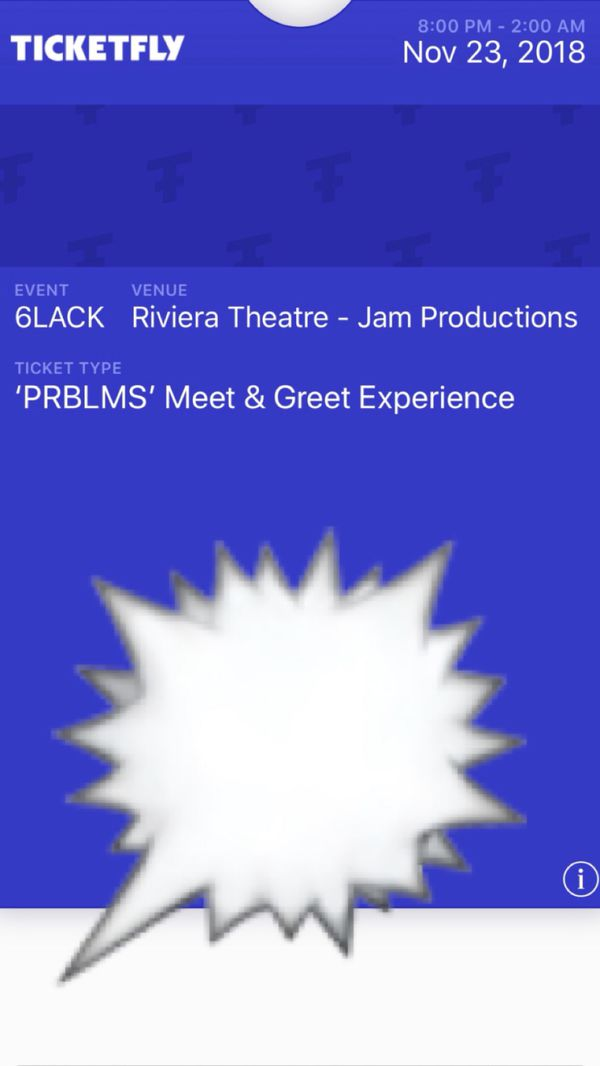 Two 6lack meet & greet tickets