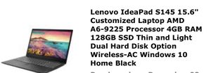 "Lenovo IdeaPad S145 15.6"" Customized Laptop AMD A6-9225 Processor 4GB RAM 128GB SSD Thin and Light Dual Hard Disk Option Wireless-AC Windows 10 for Sale in Philadelphia, PA"