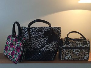 Betsy Johnson Bags,Make Up Flower Bag has 2 Clear pouches Zip,Large quilted mint condition leopard tote bag,leopard cooler quilted for Sale in Coraopolis, PA