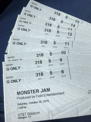 Monster Jam Tickets Saturday October 26 $30 each for Sale in Arlington, TX