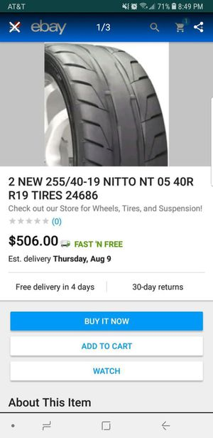 Nitto NT05R 255/40/19 for Sale in Weston, FL