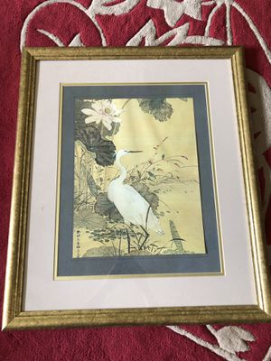 Chinese crane art paper picture in gold frame for Sale in San Francisco, CA