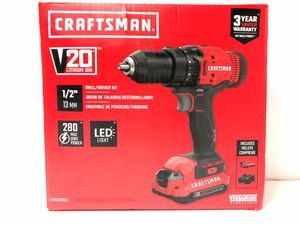 """Craftsman V20 Lithium Ion 1/2"""" Drill/Driver Kit CMCD700C1 Battery & Charger for Sale in Riverdale, GA"""