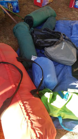 Camping gear stoves,grill , sleeping bags,cots,pads2 room tent and smaller tent and box of camp kitchen stuff for Sale in Glendale, CA
