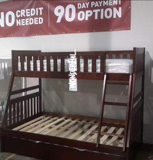 Rowe Cherry Twin/Full Bunk Bed byHomelegance for Sale in Ellicott City, MD