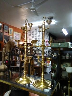 Vintage antique tall brass candle holders candelabras 36 in tall wedding bridal for Sale in La Mesa, CA