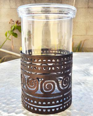 Vintage Glass and Metal Flower Vase/Utencils Holder for Sale in Tujunga, CA