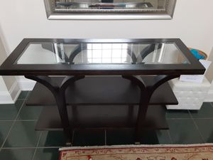 Black wooden console table with glass for Sale in Greensboro, NC