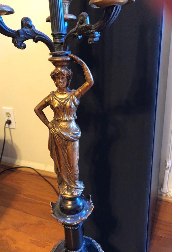 Antique Statue Lamp with Candlesticks Candelabra Figurine Works Greek Figural