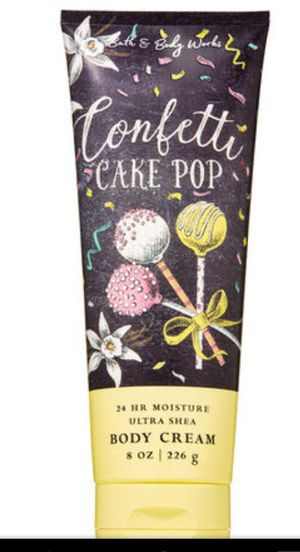 Confetti cake pop body lotion and body cream bed bath &body works for Sale in Eugene, OR