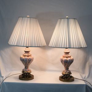 2 Vintage Italian Pink & Gold Capodimonte Antique Table Lamps with Lamp Shades for Sale in Atlanta, GA