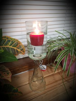 Custom made glass bottle candle holder for Sale in Weston, MO