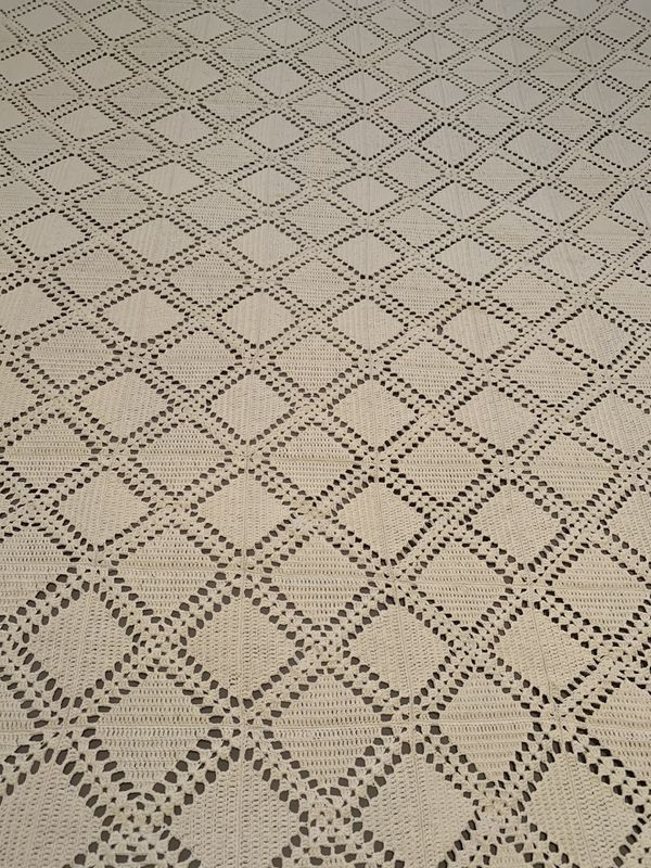Hand made crochet yarn blanket . 75x70 inches