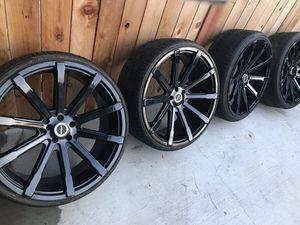 "24"" Black Strada Wheels 5 Lug Jeep dodge ford 5x4.5 or 5x114.3 bolt pattern for Sale in Los Angeles, CA"