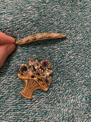 Golden Bejeweled Broach and Hairpin for Sale in Ithaca, NY