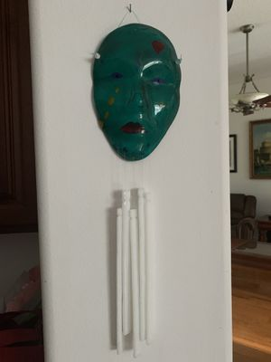 "glass handcrafted mask wind chime, approx from top to bottom 17"" , good condition for Sale in Hobe Sound, FL"