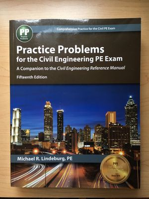 Practice Problems for the Civil Engineering PE Exam, 15th Ed for Sale in Nashville, TN