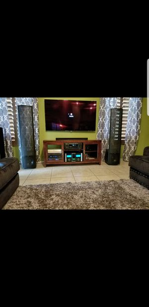 Beautiful Media/Entertainment Center in Mahogany Wood. Bowers Wilkins, Marantz, Pioneer, Audiophile, Martin logan, klipsch,McIntosh for Sale in Tolleson, AZ