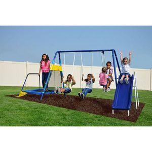 Sportspower Almansor Metal Swing, Slide, and Trampoline Set - Blue for Sale in La Mirada, CA