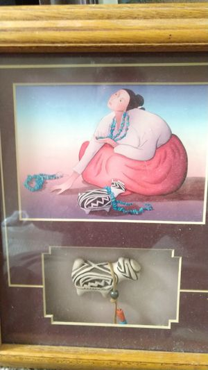 Original R.C Gorman painting with native statue for Sale in Scottsdale, AZ