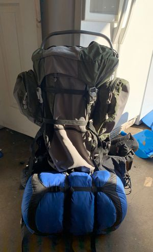 Hiking backpack with tent and sleeping bag for Sale in Rialto, CA