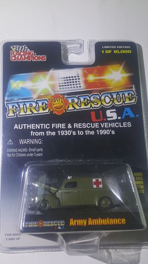 Fire & Rescue USA Racing Army ambulance Champions toy car for Sale in Phoenix, AZ