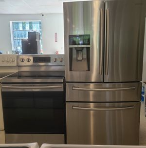 Samsung stainless steel 4-doors french door refrigerator and electric stove used in good condition with 90 day's warranty for Sale in Mount Rainier, MD