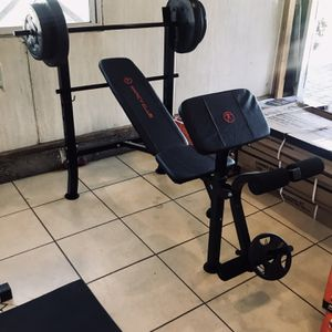 Adjustable Bench Press, Barbell, Leg Extension, Preacher Curl, 100lbs Of Weights Included for Sale in Los Angeles, CA