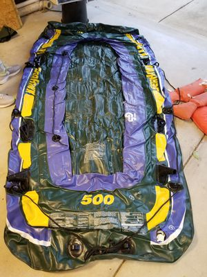 Inflatable boat, life preservers. for Sale in Darien, IL