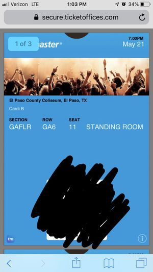 3 front row cardi b tickets for Sale in Odessa, TX