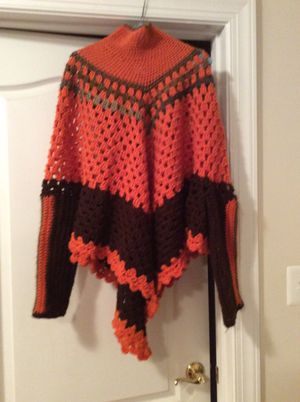 Poncho- Brown/Orange -one size fit most for Sale in Fort Washington, MD