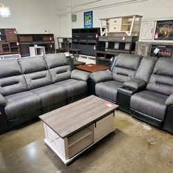 NEW, LEATHERETTE RECLINING SOFA AND LOVESEAT, GRAY AND BLACK, SKU#TC9210288. for Sale in Huntington Beach,  CA