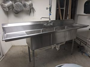 Three bay sink with sprayer and grease trap for Sale in Londonderry, NH