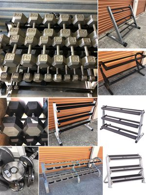 Huge Lot Of Dumbbells,Dumbbell Racks, Handles, Barbell Sets, Kettle Bells, Slam Ball & Racks, Home Gym for Sale in Davenport, FL