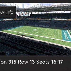 Miami Dolphins Vs Bengals 2 Tickets for Sale in Boca Raton, FL