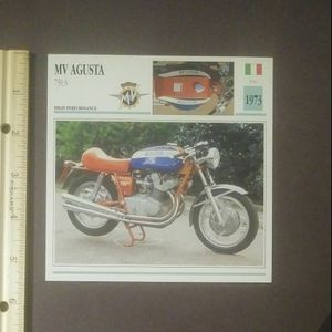 1992 MV Agusta 750 S 1973 Motorcycle Large Card Vintage Collectible Italy Atlas USA High Performance for Sale in Salem, OH