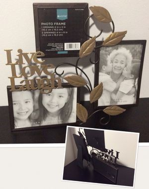 "Decorative ""Live, Love, Laugh"" metal collage picture frame (3 photo collage) for Sale in Brookline, MA"