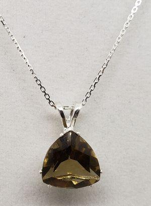 Natural Trillion Smoky Quartz Silver Necklace for Sale in Justin, TX