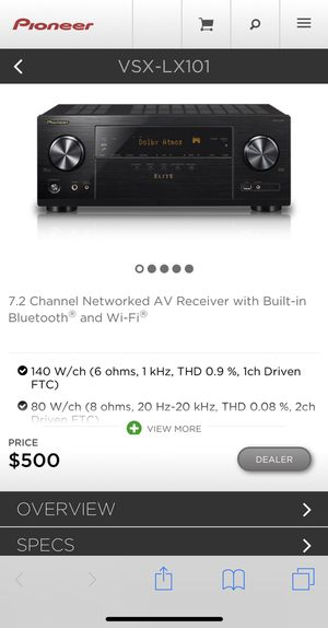 Open Box Pioneer Receiver VSX-LX101 for Sale in East Brunswick, NJ