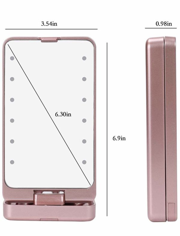 Looife Travel Vanity Makeup Mirror with 5 PCS Makeup Brushes - 360 Degree Rotating Clamshell Design, Rose Gold