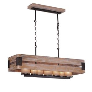 Home Decorators Collection Ackwood 7-Light Wood Rectangular Chandelier with Amber Glass Shades for Sale in Port St. Lucie, FL