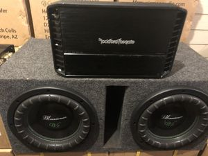 Mrmusicman v2-10 inch Subwoofers with a Rockford Fosgate Punch amp for Sale in Tempe, AZ