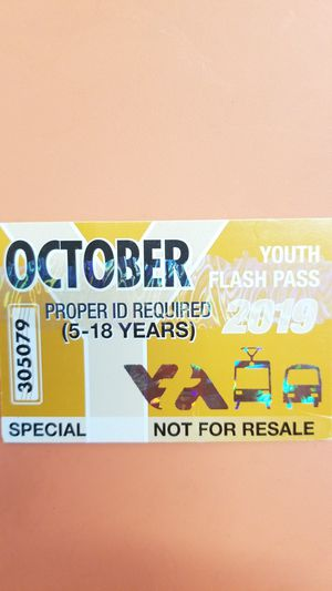 VTA YOUTH MONTH PASS for Sale in San Jose, CA