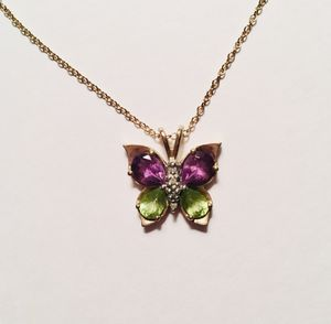 Amethyst and Peridot Butterfly Necklace for Sale in Wheat Ridge, CO